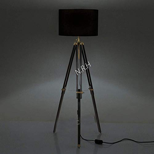 Tripod Floor Lamps for Living Room, Mid Century Modern Standing Light for Bedroom, Adjustable Design, Lamp for Office-with Black Finish ( Without Shade)