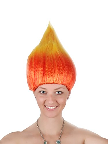 Poppy Party Synthetic Troll Wig Princess Glitter Cosplay Costume Halloween Flame Wacky Troll Hair Wig Fits Men Women(Flame) …