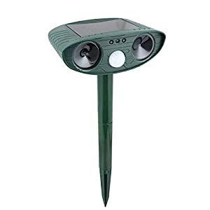 kaforto Ultrasonic Animal Repeller Solar Powered Cat Repeller with Motion Sensor Waterproof Outdoor Yard Garden Farm Get Rid of Squirrels Cats Dogs Mouse Foxes Skunk Rod