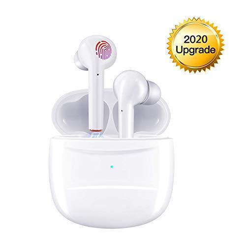 Bluetooth Kopfhörer, In Ear Kabellos Kopfhörer TWS Bluetooth 5.0 Headset Noise Cancelling Ohrhörer mit Mikrofon und Tragbare Ladehülle - Weiß