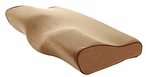 Almohada para Dormir Almohada De Espuma Viscoelástica para Dormir Almohadas Cervicales Almohadas En Forma De Mariposa Relajar La Columna Cervical Rebote Lento para Adultos 62X34X11Cm Camel