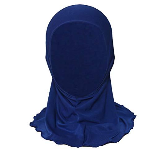 ZZBO Kinder Turban Hut Elegante Gesichtsschleier Hidschab Schal Ramadan Kopfbedeckung mit Rüschen Kappe Mädchen Cap 100% Baumwolle Haar Kopftuch Islamischen