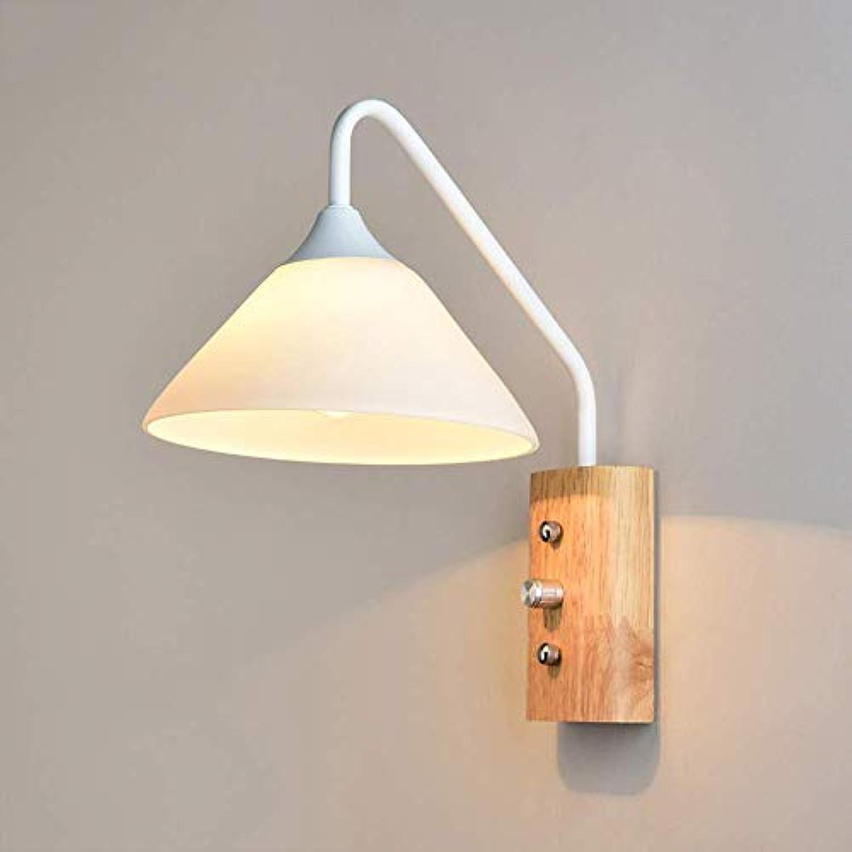 Wooden Wall Lampe Nordic Wohnzimmer Schlafzimmer Nachttischlampe Aisle Wood Wall Lampe ZHAOJBDD Schne Wandleuchte (Farbe   Wei)