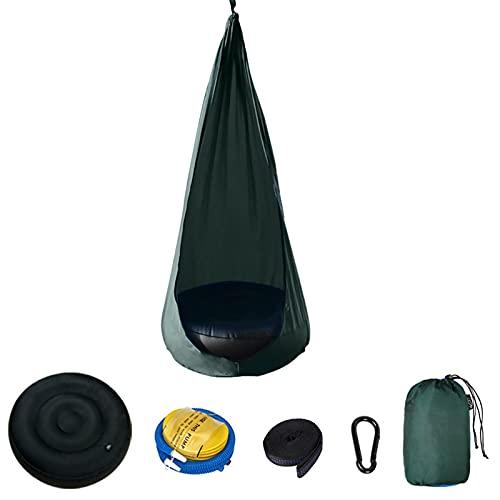 LTHTX Hamaca para niños, silla con almohada inflable, silla colgante para exteriores e interiores (verde oscuro)