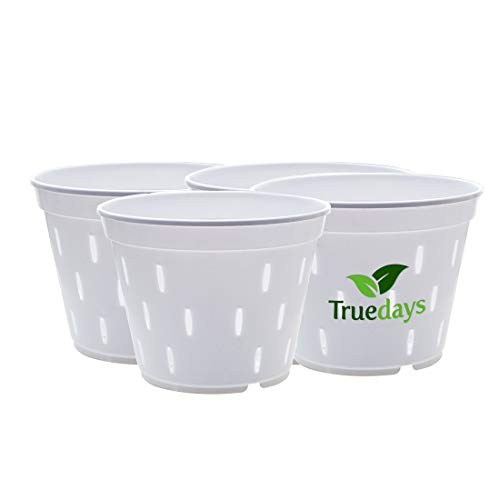 TRUEDAYS 5.5 inch 4 Pack Slotted White Plastic Pot Planter for Orchid