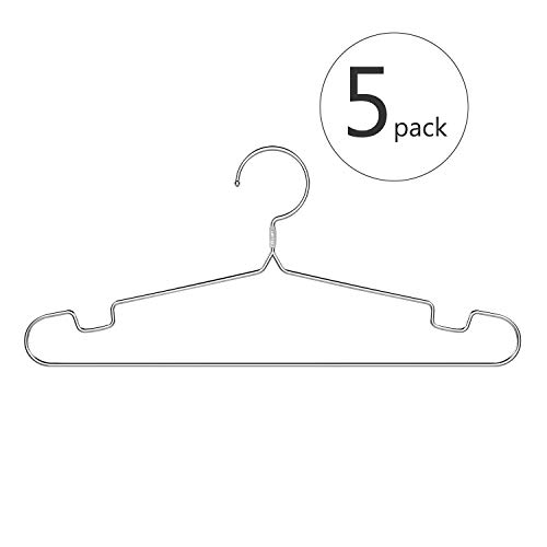 poeland 1kuan Clothes Hangers 304 Stainless Steel Standard High-end Suit Hangers 17.7 Inch 5 Pack
