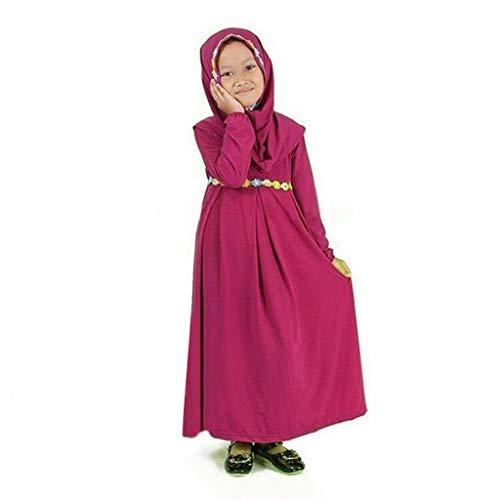 Muslimische Islamische Abaya Mädchen Lange Kleid, KIMODO® Kleinkind Outfit Kleidung Langarm Kleid mit Sticken Hijab