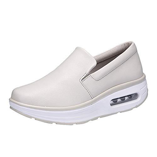 FORUU Women Round Head Air Cushion Slip-on Leisure Comfortable Shoes Shake Shoes Beige