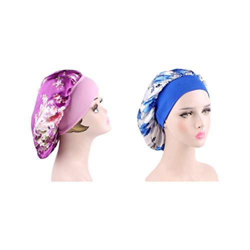 Beaupretty 2 Stück Schlaf Nachtmützen Breitband Haube Nacht Kopfbedeckung Weiches Haar Turbane Chemo Kappen Haarausfall Hüte für Frauen Haar Schönheit Haarpflege Kappe