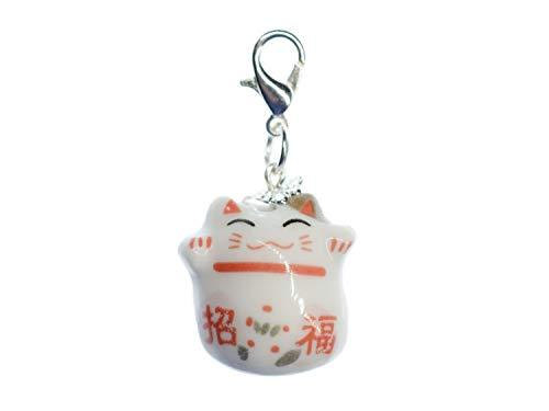 Miniblings Gato Glückskatze Encanto Maneki-Neko Manineko Porcelana Blanca - Hecho a Mano de la joyería de Moda Colgante Collar de Plata I - Colgante Pulsera - Colgante para la Pulsera