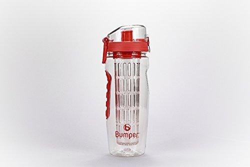 Bumper Trinkflasche mit Fruchteinsatz Infuser Wasserflasche Sportflasche Rot