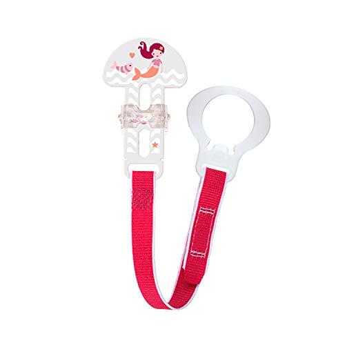 MAM Clip Fashion Schnullerband, Schnullerhalter passend für alle MAM Schnuller und Ringschnuller, Klettverschluss für Beißringe und weiteres Zubehör, rosa