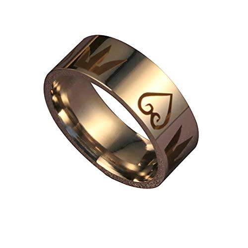 Anillo de acero inoxidable con diseño de corazón de rey para mujeres y hombres y niños, 8