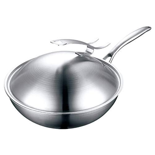 Wok de acero al carbono, Wok - Wok de acero inoxidable sin humo aceitoso Cacerola antiadherente sin recubrimiento con cocción de inducción de estufas de vaporizador universal (tamaño: 32 cm)