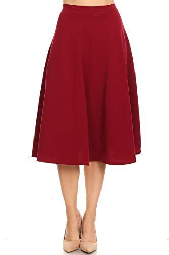 Solid Floral Print Casual High Waist A-line Elastic Waist Midi Skirt/Made in USA Burgundy M