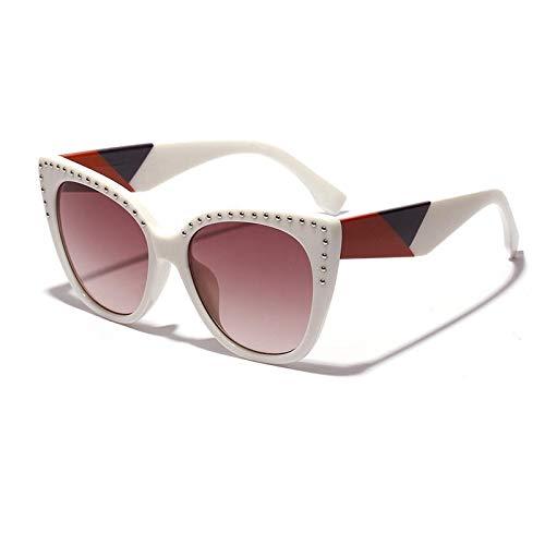 Vidrios de la motocicleta Gafas de sol anti-UV Cat Eye Gafas de sol de playa for viaje al aire libre Mujeres Vogue Vintage Print (Color : Beige)