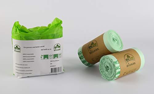 Bolsa de basura ecológica 100% biodegradable BIOARK, 10 litros, 100 unidades, extragruesa, biodegradable y compostable, con certificado EN 13432 TUV Home ok Compost