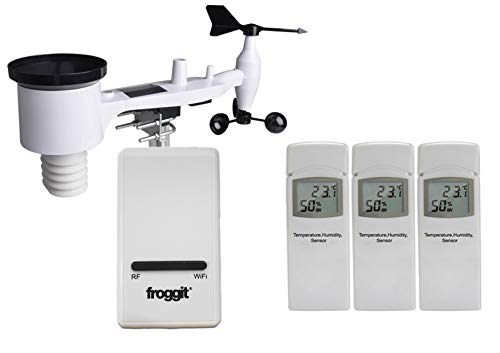 froggit DP WiFi Internet Wetterserver SmartHub Wetterstation (DP1500 + 3DP50 + WH4000SE Außeneinheit)