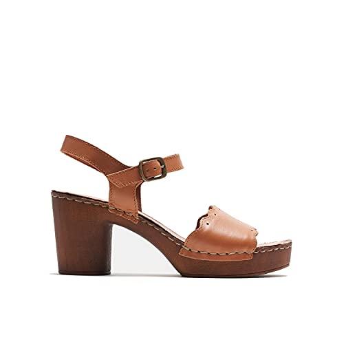 BATA Sandalen mit Absatz in Holzoptik für Damen, Braun - braun - Größe: 39 EU