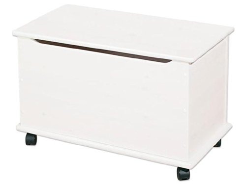 Hoppekids speelgoedkist op wieltjes met softclose, MDF, hout, wit, 73 x 39 x 45 cm