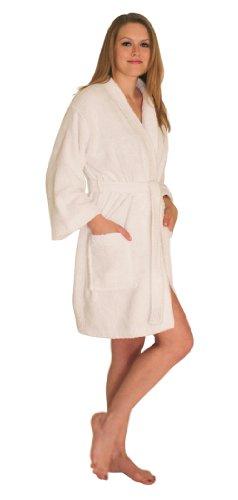 NDK New York Women's Terry Cloth Short Robe White L/XL