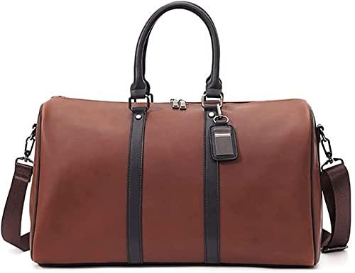 JoHUAZ Bolsa de viaje de cuero grande para el semanario de la moda, para el gimnasio, para mujeres, hombres, negocios, viajes, avión y escuela, bolsa de lona (color : A)