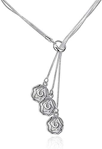 Yiffshunl Collar Mujer Collar Romántico y Elegante 925 Tres Colgante de Flor de Oro Rosa Cadena de Eslabones de Plata Collar de Plata Mujeres Damas
