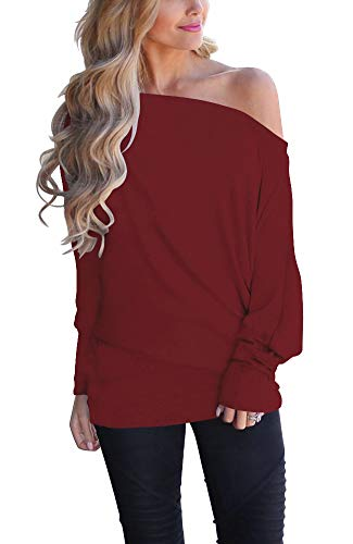 INFITTY Women's Off Shoulder Loose Pullover Sweater Batwing Sleeve Knit Jumper Oversized Tunics Top Dark Red Medium