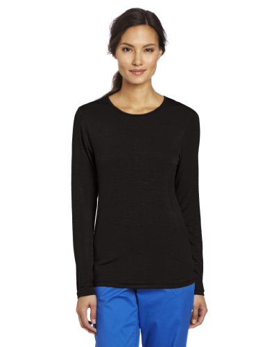 WonderWink Women's Scrubs Silky Long-Sleeve T-Shirt - X-Large - Black