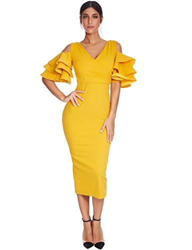 abito donna giallo Meilun