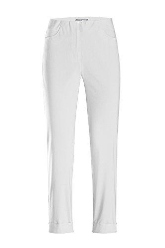 Stehmann - Stretchhose Igor 680 - mit EXTRA-Fashion Armreif - Umschlag und Gesäßtaschen - Schmale Pull-On Hose, Hosengröße:38, Farbe:weiß