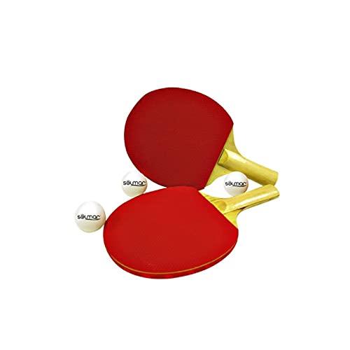 Acan Solmar - Palas Ping Pong de Madera con 2 Gomas Diferentes + 3 Pelotas Ideal para Jugar con Amigos y Familia 14,5 x 0,5 x 25 (Ancho x Alto x Largo)
