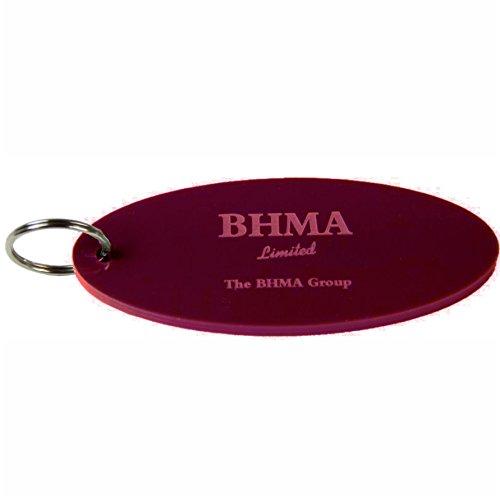 Oval Acryl Schlüsselanhänger massiv Farbe–100mm lang, burgunderfarben