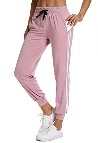 FITTOO Pantalon Chandal Mujer Largos Pantalones Deporte Yoga Fitness Jogger Pantalones Rayas Rosa S