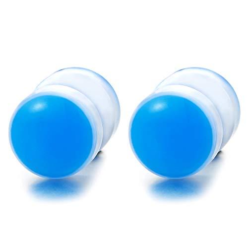 10MM Blanco Azul Círculo Pendientes de Hombre Mujer, Acero Enchufe Falso Fake Cheater Plugs Gauges, 2 Piezas
