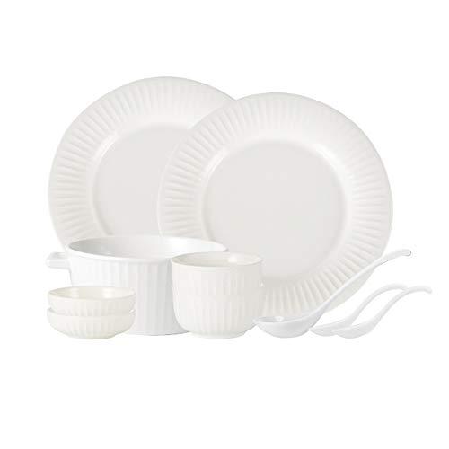 ZLSP Plato fijado for el hogar 2 personas, simple color sólido vajilla vajilla de cerámica de los amantes de la placa Tazón ZLSP (Color : White)