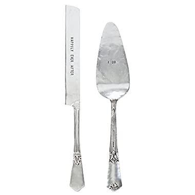 Mud Pie 4635002 Wedding Cake and Knife Serving Set, Silver