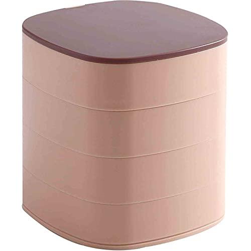 SONG Caja de joyería Damas Caja de joyería giratoria múltiple Caja de joyería Pendientes Collar de joyería Cubierta de Polvo para el Almacenamiento de Joyas (Color : Pink)
