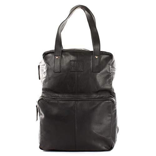 LECONI Rucksack retro Lederrucksack Freizeitrucksack Vintage-Look Wanderrucksack backpack modern für Damen & Herren echtes Leder 28x37x13cm schwarz LE1019-wax