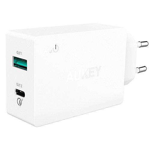 AUKEY USB C Ladegerät Dual Port, AiPower Port ( 5V / 2.4 A) und Typ C Port für LG, HTC, Nexus, Oneplus, iPhone; Inklusive 1M USB C Kabel (Weiß)