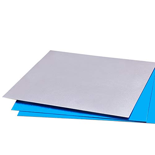 BENECREAT 10 PCS Panel de Aluminio (10x10cm) Lámina de Aluminio con Película Protectora para Manualidades de Metal, Hacer Joyas, Estampados a Mano, Grabado en Relieve