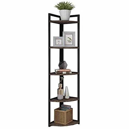 Superjare Corner Shelf, Industrial 5 Tier Wood Wall Corner Bookshelf with Metal Frame, Corner...