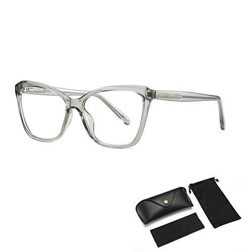 HUALUWANG Gafas Anti-Azules, Gafas Gaming, Gafas Anti-Azules, Anti-Rayos Ultravioleta, Monturas de Acetato, Patillas de Acero Inoxidable, Lentes de Cristal Transparente, Fundas de Microfibra