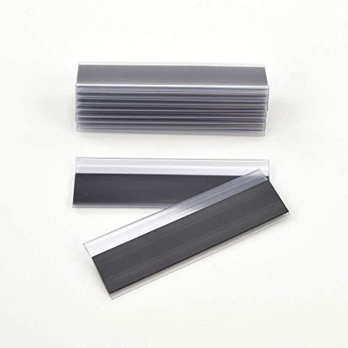 Magnetische Etikettenhalter für Einstecketiketten 500 mm Breit/Tickethalter/Etiketten Halter (33 mm Höhe, Transparent, 10 Stück)