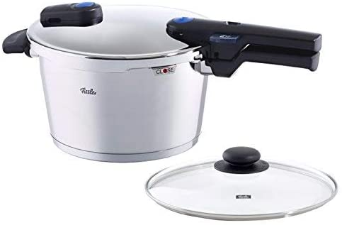 Fissler Vitaquick pressure cooker with glass lid, 8.5 Quart, Steel