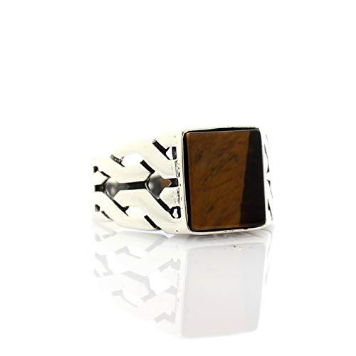 QHKS 925 Anillo de Plata esterlina para Hombres Tigre Ojo Piedra joyería Moda Vintage Onyx aqeq Zircon Regalo Anillos de Regalo Todo tamaño (Ring Size : 12)