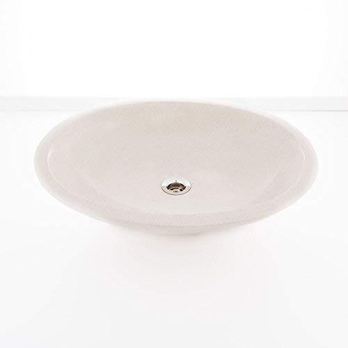 wohnfreuden Terrazzo opzetwastafel 55 x 40 x 15 cm, crème ovaal asymmetrisch badkamergastentoilet ✓ wastafel wastafel opzetwastafel