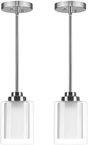 HLigExp - Lámpara de techo moderna mini 1 lámpara industrial 2 piezas, longitud ajustable, apta para restaurante, bar, café