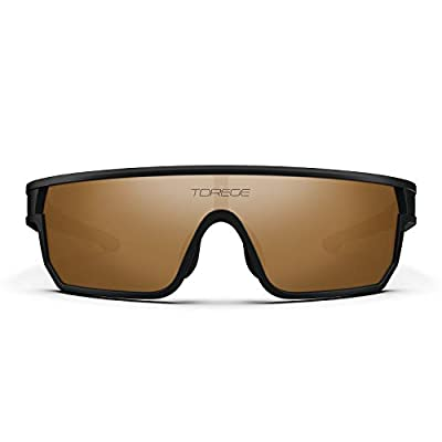 TOREGE Polarized Sports Sunglasses For Man Women Cycling Running Fishing Golf TR90 Fashion Frame TR16 Warrier (Matte Black&Black&Grey Lens)