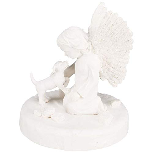 Trixie 38418 Gedenkstein Hund mit Engel, ø 12 × 14 cm, weiß